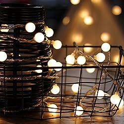 Catene luminose di myCozyLite®, Stringa Luci LED, Bianco Caldo, Globo, 15M 100 LED, con Timer, Trasformatore DC 31V, Decorative Esterno ed Interno, Luminosa Luci Natalizie Per Giardino, Festa di compleanno, Natale, Bar, Caffè, Piscina, Casa, Espandibile