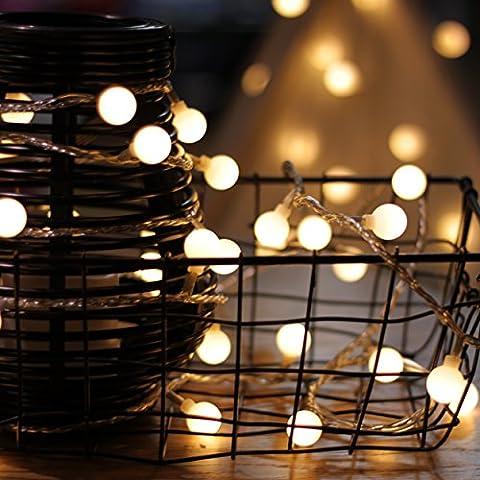 Lichterkette, von myCozyLite®, LED Lichterkette mit timer, EU Stecker, 15m, 100er, Globe, Warmweiß, Weihnachtsbaum Deko, für Innen und Außen, erweiterbar, mit 31V DC (Light Set Weiß Draht)