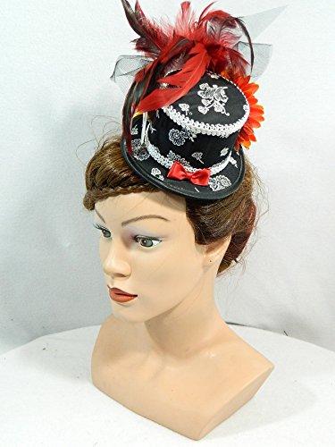 Melbourne Kostüm Dirndl (Mini Zylinder schwarz weiß Damenhut Fascinator Oktoberfest Dirndl Trachtenhut)