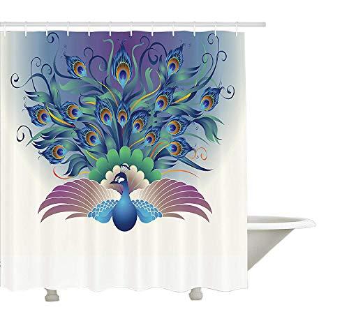 Yeuss Peacock Decor Collection,Illustration des reich verzierten Pfaus mit der majestätischen Schwanzfeder,die um Vögel herumfliegt,Flügel-Thema,Bad-Duschvorhang aus Polyestergewebe mit ()