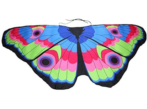 Overdose Damen Faschingskostüme Kinder Mädchen Jungen Butterfly Wing Cape Schmetterling Flügel Kostüm Schmetterlingsflügel Erwachsene Karneval Kostüm Kimono Schal Cape Tuch (118*48CM, A-Multicolor ()