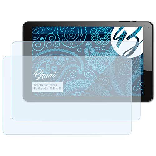 Bruni Schutzfolie kompatibel mit Odys Goal 10 Plus 3G Folie, glasklare Bildschirmschutzfolie (2X)