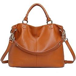 Sonyabecca -Bolso de piel para mujer, auténtica piel suave, diseño clásico/vintage, bolso hombro cruzado, marrón (marrón) - B-WSB037