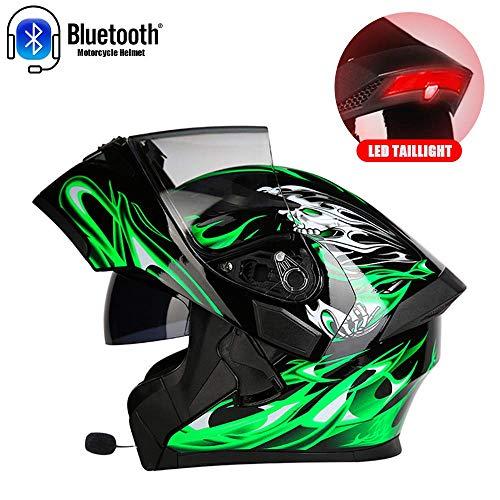 BRO-OUTDOOR Casco Moto modulare modulare per Motocicletta Bluetooth con Doppia Visiera e fanale Posteriore a LED, Casco da Moto da Corsa Casco per Moto,XXXL(63cm~64cm)