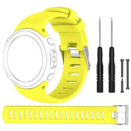 Bemodst Suunto D4 Novo Strap Ersatz-Armband, Silikon Armband Uhrenarmbänder Uhrenarmband Handschlaufe Uhr Gurt für SUUNTO D4 D4i NOVO, mit Werkzeug, gelb - Nova Paket