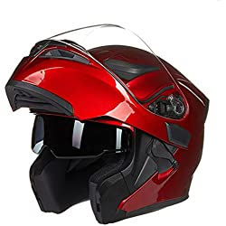 O-Mirechros Flip Up Motorcycle Helmet Dual Lens System Racing Helmet Model Removable And Washable Lining suzuki red M