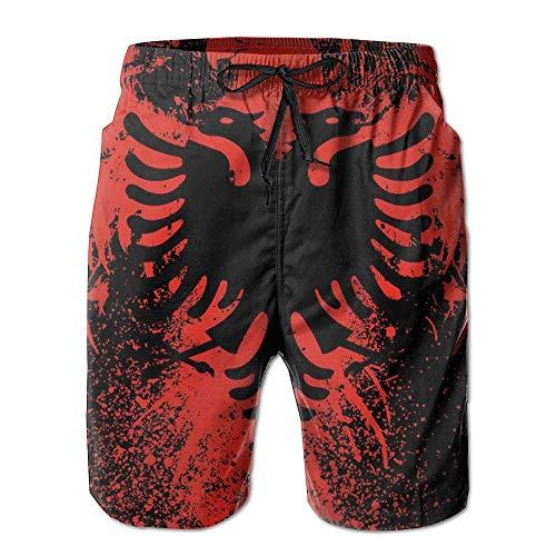 DDOBY Albanische Flagge von Eagle Boardshorts Strand Shorts Badehose Süßer männlicher Badeanzug M