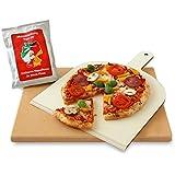 Vesuvo V38301 Pizzastein- / Brotbackbackstein Set für Backofen und Grill / eckig / 38x30 cm / mit Pizzaschaufel und Pizzamehl
