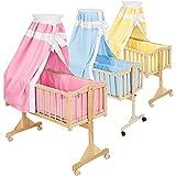 TecTake Cuna mecedora completa para bebés - disponible en diferentes colores - (Rosa | No. 401023)