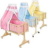 TecTake Komplette Babywiege Kinderbett Stubenbett Schaukelwiege inkl. Zubehör -diverse Farben-