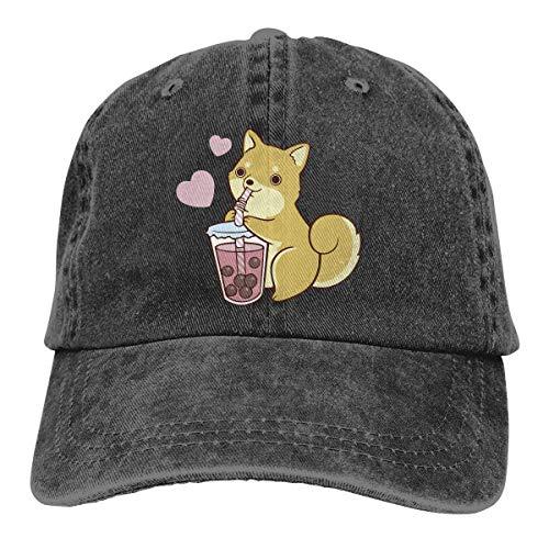 Hoklcvd Bubble Tea Shiba Unisex gewaschen einstellbare Mode Cowboyhut Denim Baseball Caps Multicolor17