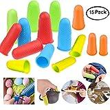 CKANDAY 15 Pack de capsules de doigt en silicone pour pistolet à colle chaude, 5 couleurs Protecteurs de protection contre les doigts ou colle à la colle chaude