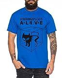 WhyKiki Schroedingers Katze Sheldon Nerd Herren T-Shirt, Farbe:Royalblau;Größe:M