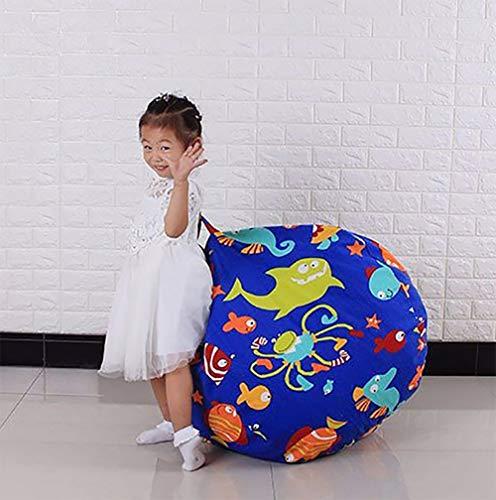 ZLQF Große Gefüllt Tier Lagerung Sitzsack Stuhl Spielzeug Organizer Ball Form 38 Zoll,Blue