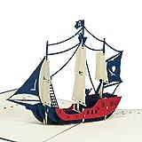 Carte de vœux Favour Pop Up-Bateau Pirate. Style Motif espaces, aufwändige la main et Créer ausgefeilte la technologie laser sur et un filigranes Art.. tf044...