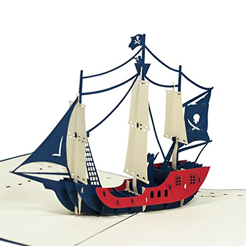 Favour Pop Up Grusskarte - Piratenschiff. Aufwändige Handarbeit und ausgefeilte Lasertechnik schaffen auf kleinstem Raum ein filigranes Kunstwerk. TF044