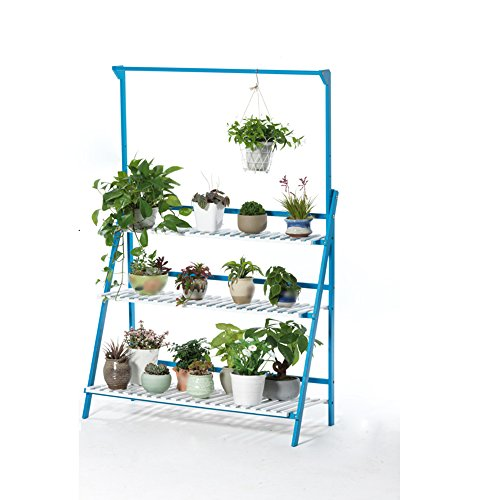 Salle de séjour suspendue à étages à étages / étagère en bois massif balcon cadre de lit simple ( Couleur : Bleu et blanc , taille : 100*40*145cm )
