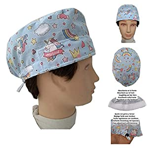 OP-Haube EINHORN für kurzes Haar, Chirurg, Zahnarzt, Tierarzt, Küche Handtuch auf der Stirn, einstellbar mit Spannrolle und Gummi