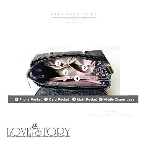Yoome retrò Lichee modello flap borsa grande capacità borse a manica superiore per le donne per Dating - Nero Rosso