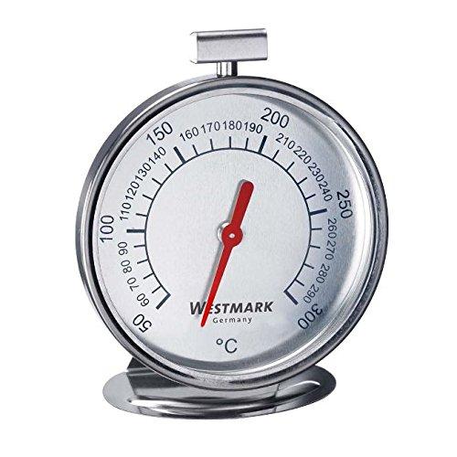 Westmark Ofenthermometer zum Aufhängen und Hinstellen, Durchmesser: 7,5 cm, Rostfreier Edelstahl, Silber/Weiß, 12902260