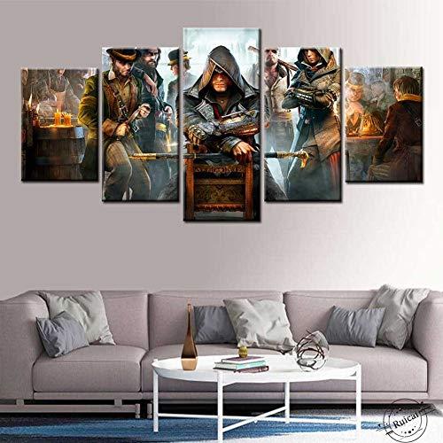 YRRBI 5 Stück HD Game Assassin's Creed Leinwand Malerei Poster und Drucke Wandbilder Wohnzimmer Wandbilder Home Decoration (Gerahmt,20X35 20X45 20X55cm)