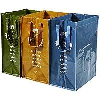 PERFETTO 0468D - Cubo de basura para exterior, 3 contenedores, color verde, amarillo y azul