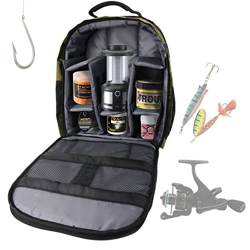 DURAGADGET Mochila Camuflaje Con Compartimentos Para Accesorios De Pesca + Funda Impermeable - Perfecta Para Guardar / Organizar - Alta Calidad