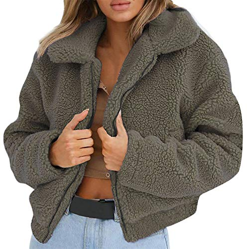 Plüschjacke Damen Reißverschluss, Holeider Mantel Winter Warm Künstliche Wolle Jacke Parka Outwear Frauen Kurz Coat Mäntel Schwarz - Mantel Damen Kurz Wolle Jacke