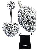 BodyTrend CZ Kristall-Herz, Bauchnabel-Piercing, 3D, handgefertigt, Der Stab ist aus Titan Grad 23, Stärke 1,6 mm