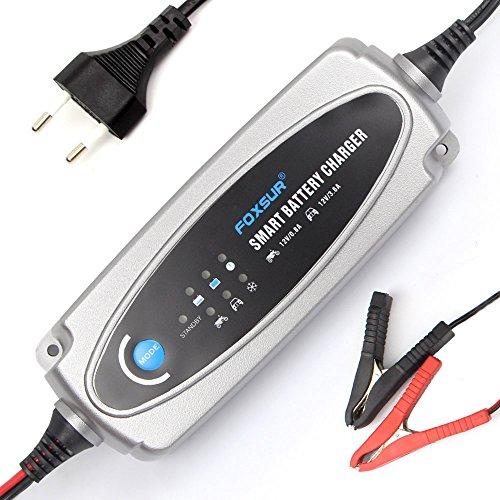 FOXSUR 12V 800mA Motorrad & 3.6A Autobatterie-Ladegerät, 12V Blei-Säure-Batterie-Ladegerät für SLA, AGM, Gel, VRLA, Mariner-50 Smart-Ladegerät