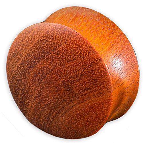 viva-adorno® 1 Stück Double Flared Flesh Plug Tunnel aus Holz verschiedene Holzarten zur Auswahl Größe 2 - 30mm WP1, Rotholz, 20mm