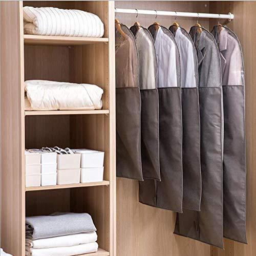 BCLGCF Graue Kleidersäcke Für Die Aufbewahrung Staubgeschützter Schutzanzug Mit Klarem Fenster Für Anzug, Jacke, Hemd, Mantel, Inklusive Reißverschluss Und Durchsichtiger Fensterhandtaschen