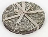 Set of 4 Silver Beaded Coasters, Birthday, Christmas, Any Occasion Gift by Christmas Decorations