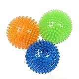 UEETEK 3Pcs Cane Molle in silicone Palle Squeaky morso di cane giocattolo per cani di taglia piccola Animali domestici Giocattoli di formazione Taglia S (verde arancione blu)