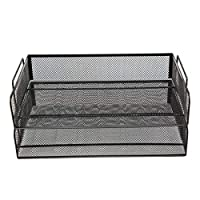 UniEco Desktop Organizer - 2 Tier Stackable Letter Trays - Metal Mesh Paper Trays, Office Organizer