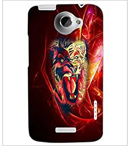 PrintDhaba Lion D-4539 Back Case Cover for HTC ONE X (Multi-Coloured)