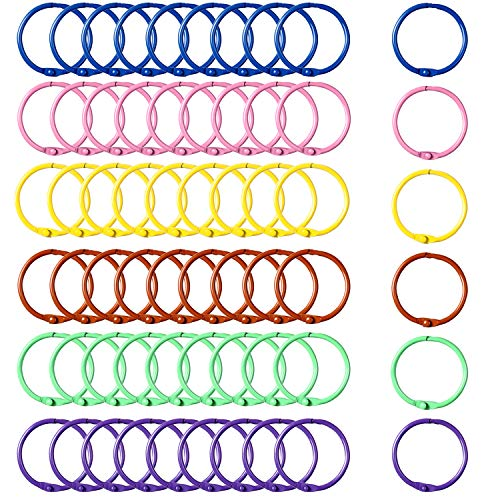 der Ringe Bunte Schlüsselanhänger Loose Blatt Binder Ring Buch Ringe Schlüsselanhänger, 6 Farben ()