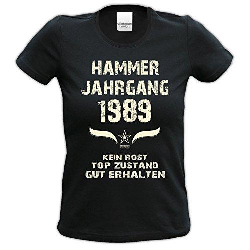 Geschenk für Frauen zum 30 Geburtstag Frauen Kurzarm T-Shirt Hammer Jahrgang 1989 in schwarz