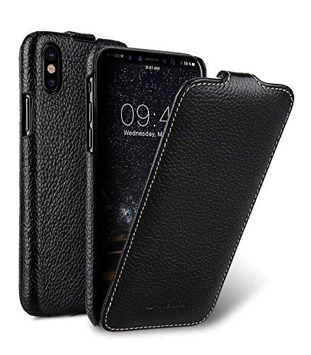 Edle Tasche für Apple iPhone XS und iPhone X / Case Außenseite aus beschichtetem Leder / Schutz-Hülle aufklappbar / Flip-Case / Etui / ultra-slim / Cover Innenseite aus Textil / Schwarz Flip Handy Form