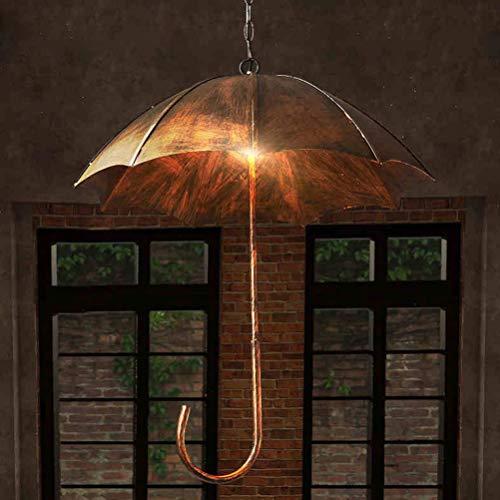 Regenschirmlampe Vintage, Pendelleuchte Retro Dekoration, Deko-Lampe Shabby Chic Regenschirm Hängelampe aus Metall Decke Beleuchtung mit E27 × 5 Leuchtmittel Für Antique Wohnzimmer Esszimmer Esstisch Loft 230V (Antiker Goldener Durchmesser 50cm)