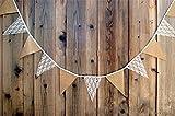 Hosaire Guirlande Bannière Banderole en Coton Motif de Dentelle Guirlande de Fanions Décor pour Fête de Mariage Anniversaire Noël