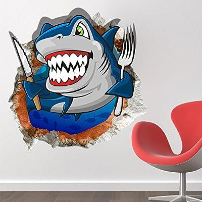 Bazaar 3D Baby Kids Room Cartoon Shark Ocean Sea Wall Decals Removable Paper Stickers Art DIY Gift Decoration