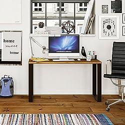 Mesa Estudio Escritorio de Madera Maciza Natural y Patas de Acero, Medidas 118 x 55 x 74 cm. Estilo Industrial para Uso como Escritorio, despacho, reunión
