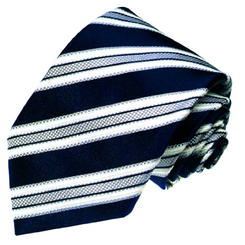 LORENZO CANA - Luxus Krawatte aus 100% Seide - Seidenkrawatte Blau Weiss Dunkelblau Grau Streifen - 77007 (Blau Grau Seidenkrawatten)