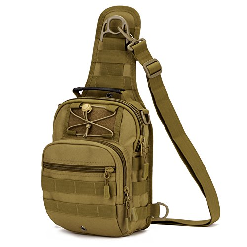 Imagen de huntvp  táctical  de hombro  de bandolera  de pecho estilo militar bolso de múltiple función  ejércita bolso impermeable para correr, senderismo, ciclismo,camping, caza, etc, color marrón