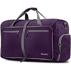 Gonex - Bolsa de equipaje plegable para deporte o viaje (multiusos, impermeable, 80 L), Morado, L