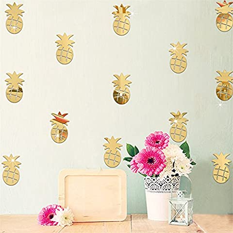 Yanqiao 12PCS Cartoon Mirror Fruit Pineapple Wall Stickers Removable Acrylic Living Room Home Wall Decor,Gold