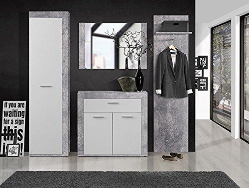 Wohnwand 62676 Anbauwand 5-teilig mit Highboard Lowboard lichtgrau weiß 300cm -