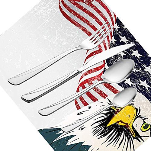 30-teiliges Besteckset, Geschirr mit amerikanischer Flagge, Besteckset aus rostfreiem Stahl für 6 Personen, einschließlich Messer, Gabeln, Löffel, Teelöffel und Tischset, American Eagle mit Grunge-Eff -