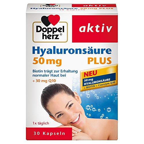 Doppelherz Hyaluronsäure 50 mg Plus – Mit Biotin zur Unterstützung der normalen Funktion der Haut – Plus Coenzym Q10 – 1 x 30 Kapseln